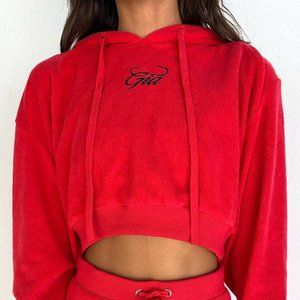 I.AM.GIA Torres Red Cropped Relaxed Fit Hoodie XS